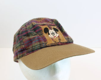 Mickey Mouse M Logo disney plaid snapback hat cap