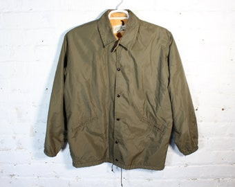 L.L. Bean vintage jacket coat green cursive tag outdoor nylon button up