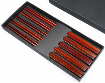 5 Pairs 10 Inch Premium Natural Red Rosewood Chinese Chopsticks - with Classic Square Handle - With Case Set