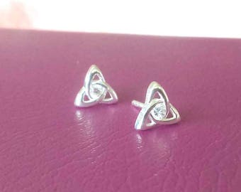 Sterling Silver Celtic Studs, Celtic Trinity Knot Stud Earrings, Irish SilverStud Earrings, UK Seller, Tiny 925 Silver Trinity Knot Studs