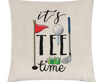 It's Tee Time Golf Linen Cushion Cover