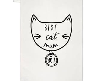 Best Cat Mum Tea Towel Dish Cloth
