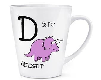 Letter D Is For Dinosaur 12oz Latte Mug Cup
