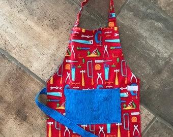 Little Boy's Apron, Baking, Carpenter, Artist, Blue, Tools, Pockets, Woodgrain, Red, Blue