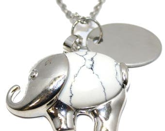 Engraved personalised imitation white turquoise elephant necklace charm gift pouch BR512N