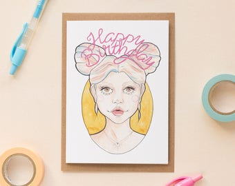 Party Girl Clio Cute Happy Birthday Card // Best Friend Card, Nasty Women, Card for Feminist, Girl Gang, Strong Woman Card