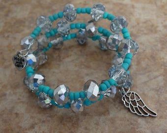 Memory Wire Bracelet, Turquoise Bracelet, Memory Wire Wrap, Turquoise Jewelry, Seed Beads, Glass Beads, Wing Charm, Boho Bracelet