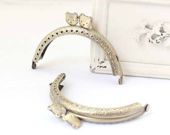 1 PCS, 8.5 cm / 3.3 inch, Squared Solid Cute Kitten Cat Shape Beaded  Bronze Kiss Clasp Lock Purse Frame for Coin Purse Clasp Purse, K366