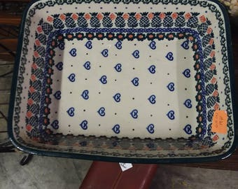 Vintage Polish Pottery Pineapple Baking Dish Baker