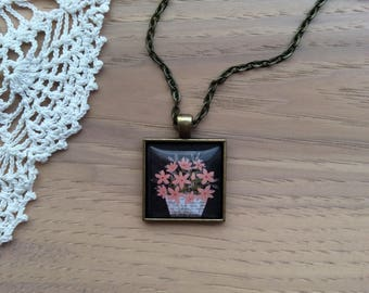 Pink Flower Basket - Cabochon Necklace - Square Pendant Necklace - Antique Brass Bezel and Chain