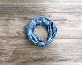 Baby Toddler Child Infinity Scarf - heather blue and gray READY TO SHIP