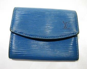 100% Authentic Vintage Louis Vuitton Epi Porte Monnaie Plat Blue Leather Coin Purse Wallet CA0917