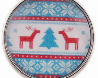 C1109 Art Glass Print Chunk - Reindeer w/Tree and Snow Flakes