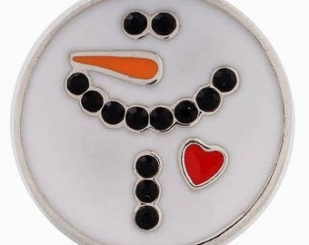 KC8560  White Enameled Snowman Face w/Heart and Enameled Accents