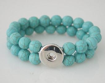 KB4505  Turquoise Stone Double Stretch Bracelet