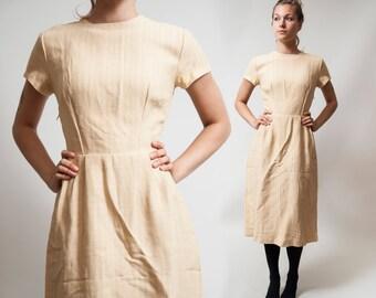 60s 50s Beige day Dress / Tea party Housewife secretary dress / Summer Lolita Hippie Boho Sleeveless dress / Size Medium