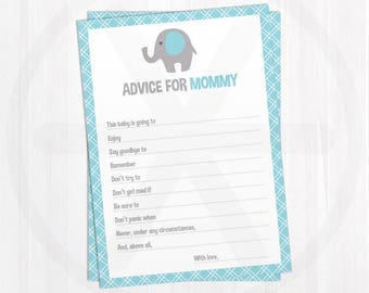 Baby Shower Advice Cards - Advice for Mommy - Blue Elephant Baby Shower Printable Games - Baby Boy Games - Baby Shower Keepsake