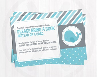 Book Request Card. Blue Whale Books for Baby Boy Invitation Insert. Baby Library. Printable Blue and Grey Baby Shower Bring a Book Cards