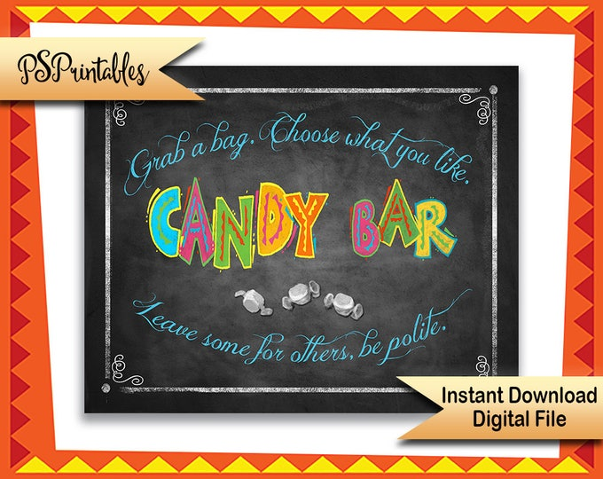 Fiesta candy bar sign, Printable Candy bar sign,  Birthday Fiesta, Graduation Fiesta, Wedding Fiesta, Fiesta party sign, Fiesta Printable