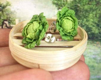 Cabbage Earrings, Miniature vegetables  Jewelry for vegetables Lovers.