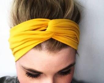 Mustard Headband - Mustard Turban - Boho Headband - Knot Headband Women - Headbands for women - knot headband adult - mustard yellow turban