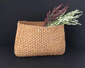 Vintage Seagrass Handwoven Basket / Office, Den, Kitchen or Bath / Gift Basket / Utility Basket / Home Decor
