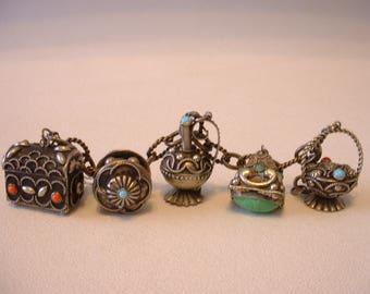 Sterling Silver PETRUZZI Italian Charm Bracelet with Gemstones (E251)