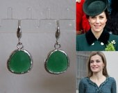 Kate Middleton Duchess of Cambridge Inspired Replikate Queen Letizia Green Onyx Silver Drop Earrings