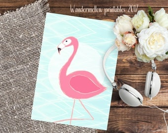 Flamingo A4 and 8x10 summer printable! Print for home, dorm and office decor!  Back to school art, gift printable