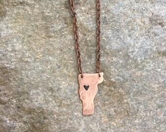 I love Vermont Copper Necklace, Heart Vermont Necklace, Vermont Necklace, state necklace, vt necklace