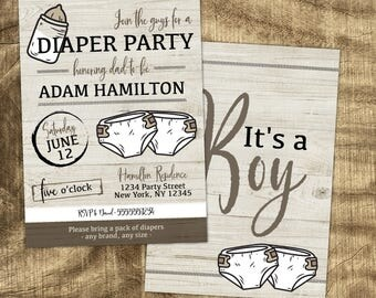 Diaper Party Invitation, Man Shower invite, Gender Neutral, Co-ed Shower, Daddy to be, Casual, Baby Boy, Baby Girl, Baby Shower for Dad