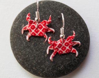 Red Origami Crab Earrings