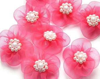 5 flowers embellishment scrapbooking Fuchsia 30 mm organza fabric