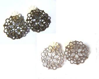 2 connectors prints filigree flower 29mm, bronze or silver