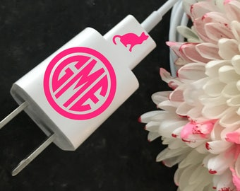 MONOGRAMMED And CAT DECAL For Phone Charger and Cord