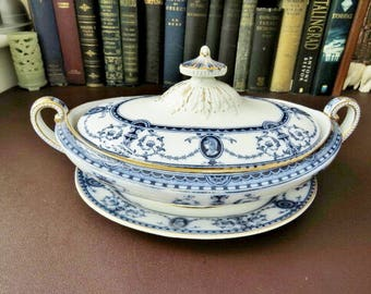 Victorian Flow Blue Tureen With Base, S H & S, Flaxman Pattern 1886 Victoriana --- WE Do Ship Overseas