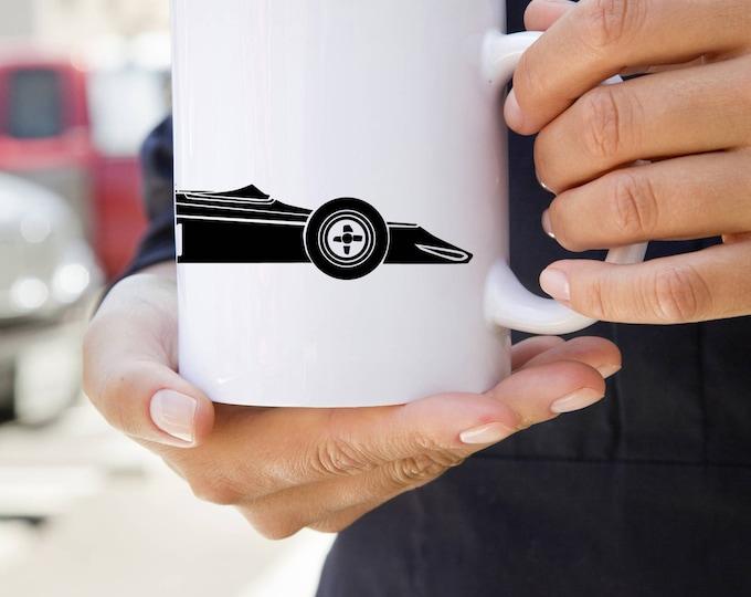 KillerBeeMoto:  U.S. Made Limited Release Formula 5000 Style Race Car Coffee Mug (White)