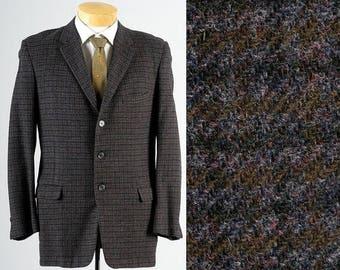 SALE Mens Vintage 50s Purple Green Tweed Box Check Plaid Slim Jacket Blazer Rockabilly 3 Button 40