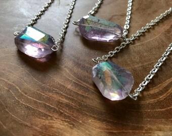 Mermaid - necklace with a beautiful aura amethyst nugget. Gemstones, rocks, minerals, boho, gypsy, minimal, lilac, aura, iridescent