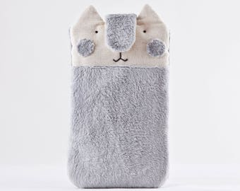 Fluffy iPhone 8 Plus Case, Gray iPhone X Case, Cat Lover Gift, Gray iPhone 7 Plus Sleeve, Cat Bag, Galaxy S7 Sleeve, Galaxy s8 Case