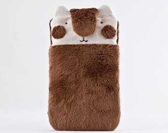 Fluffy Bear iphone 7 Plus case, boyfriend gift, papa bear Samsung galaxy s7 case, Brown Samsung Galaxy S8 sleeve, iPhone 6 Plus sleeve