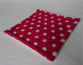 Waterproof Potty Pad , Lap Pad for Guinea Pigs , Pygmy Hedgehog , Rats , Degus ( Red & White Polka Dots )