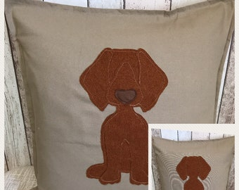 Viszla Cushion with a tail - beige reversible cotton canvas  cushion