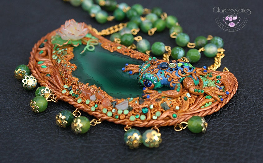 Agate necklace / Art Nouveau necklace /Frog necklace / Statement necklace / Bohemian necklace / Vintage necklace / Polymer clay necklace