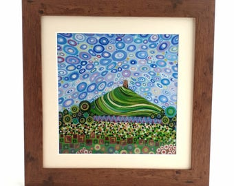 Glastonbury Tor Art Print Mythical Art Christmas Gift Abstract Art Landscape Art Signed