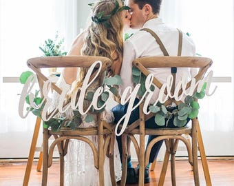 Bride Groom Large Hanging Acrylic Chair Sign Wedding Decoration