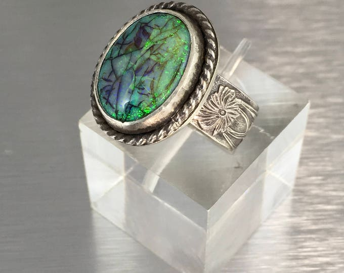 Featured listing image: Monarch Opal Silver Ring Monet Opal Sterling Silver Ring with embossed flower wide band Size 9