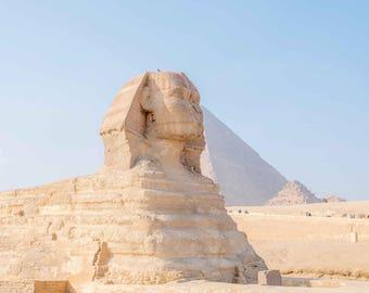 Great Sphinx, Sphinx Egypt, Pyramids of Giza, Egyptian Pyramids, Cairo Egypt, Egyptian Photography, Famous Pyramids Photo, Desert Photo