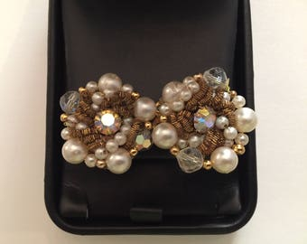 Vintage Miriam Haskell 1940's Mother of Pearl, and Rhinestone Clip Earrings.