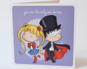 Geeky Romance Card, Sailor Moon Romance Design, sweet nerdy valentine proposal anime magical girl senshi love